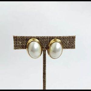 Vintage Kenneth Jay Lane Faux Pearl Clip Earrings